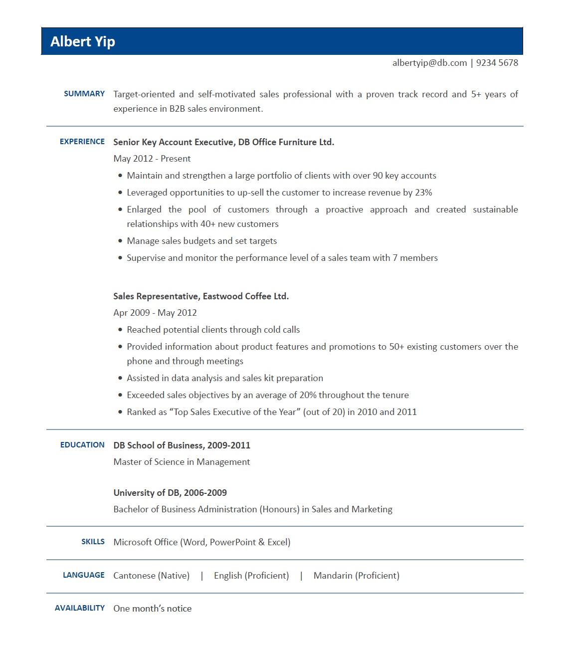 Sample Resume Sales