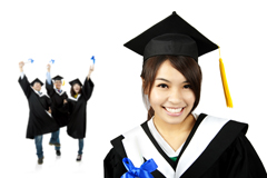 Asian girl in graduation robe