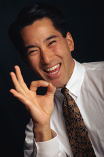 happy asian man employee
