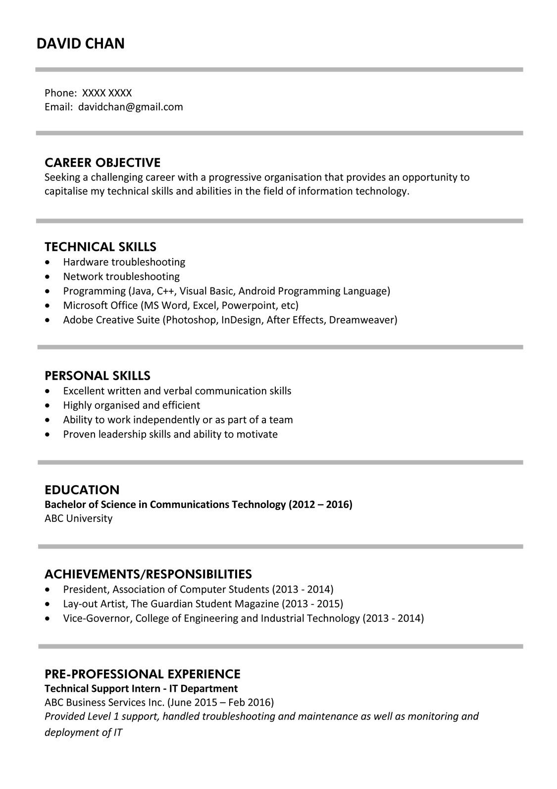 Sample resume for fresh graduates (IT professional) | jobsDB ...