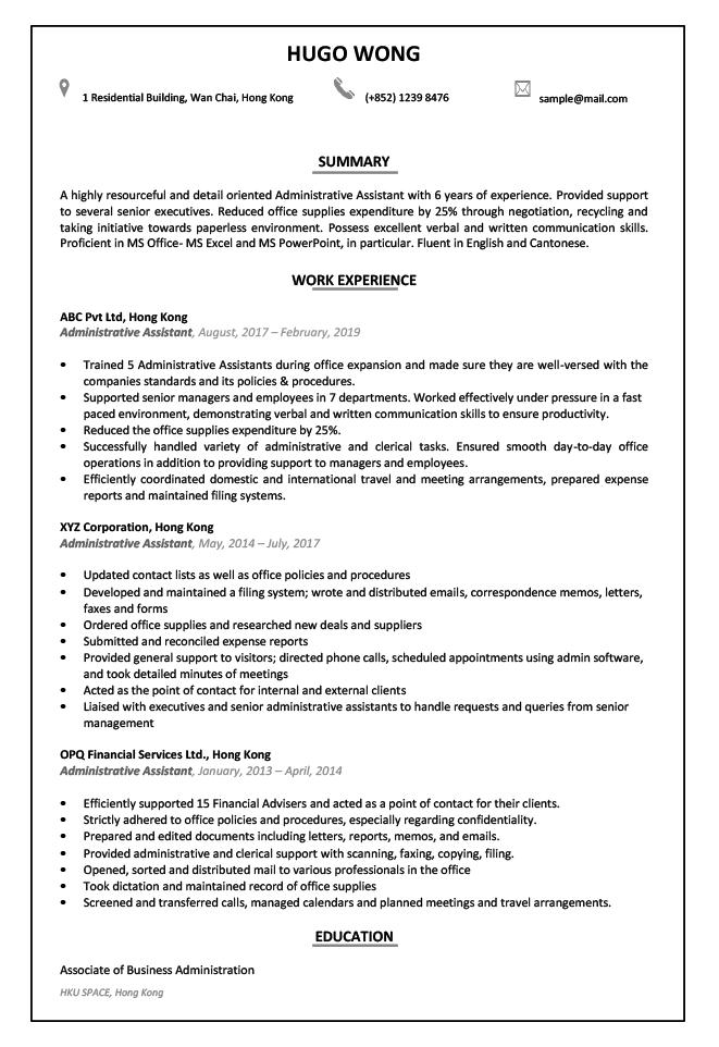 CV- Administrative Assistant