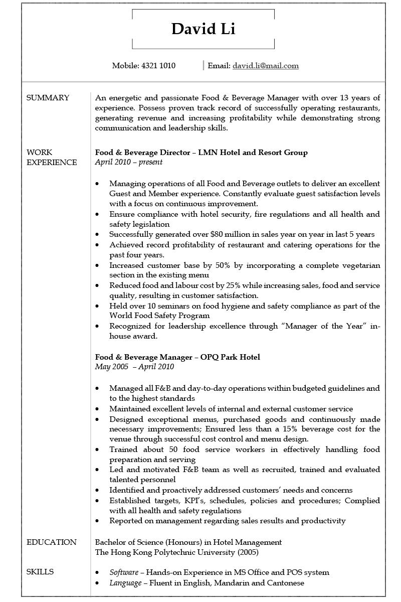 Resume Cv Sample For Food And Beverage Manager Jobsdb Hong Kong