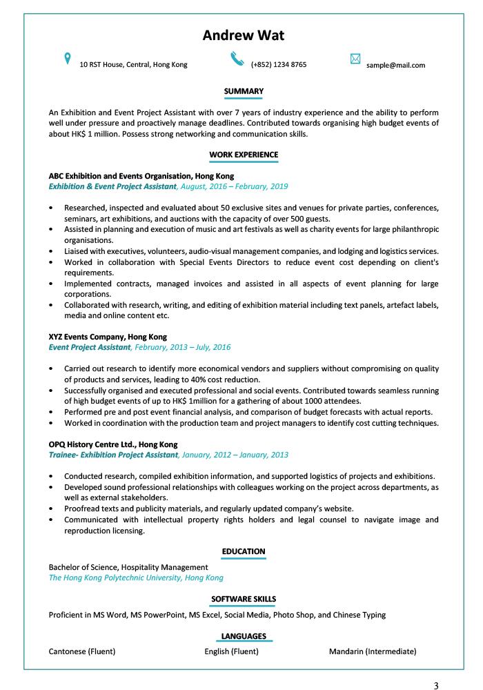 Resume Amp Cv Sample For Auditor Jobsdb Hong Kong