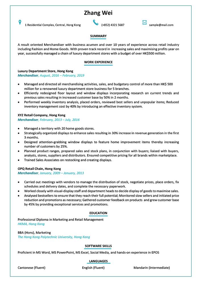 Resume-CV-sample-merchandiser