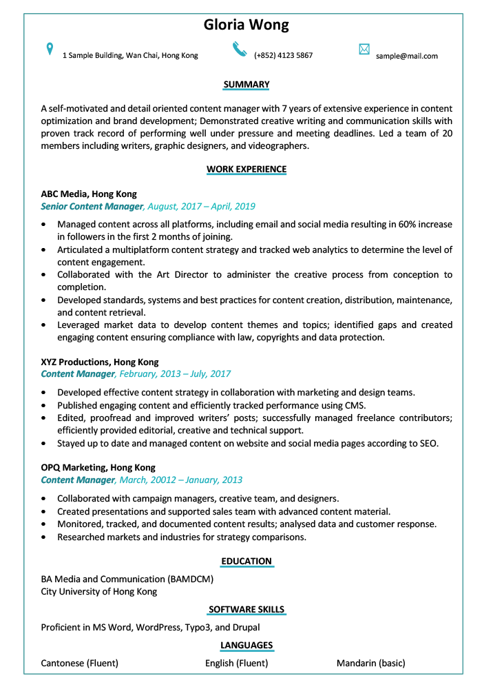 Resume CV Sample For Content Manager