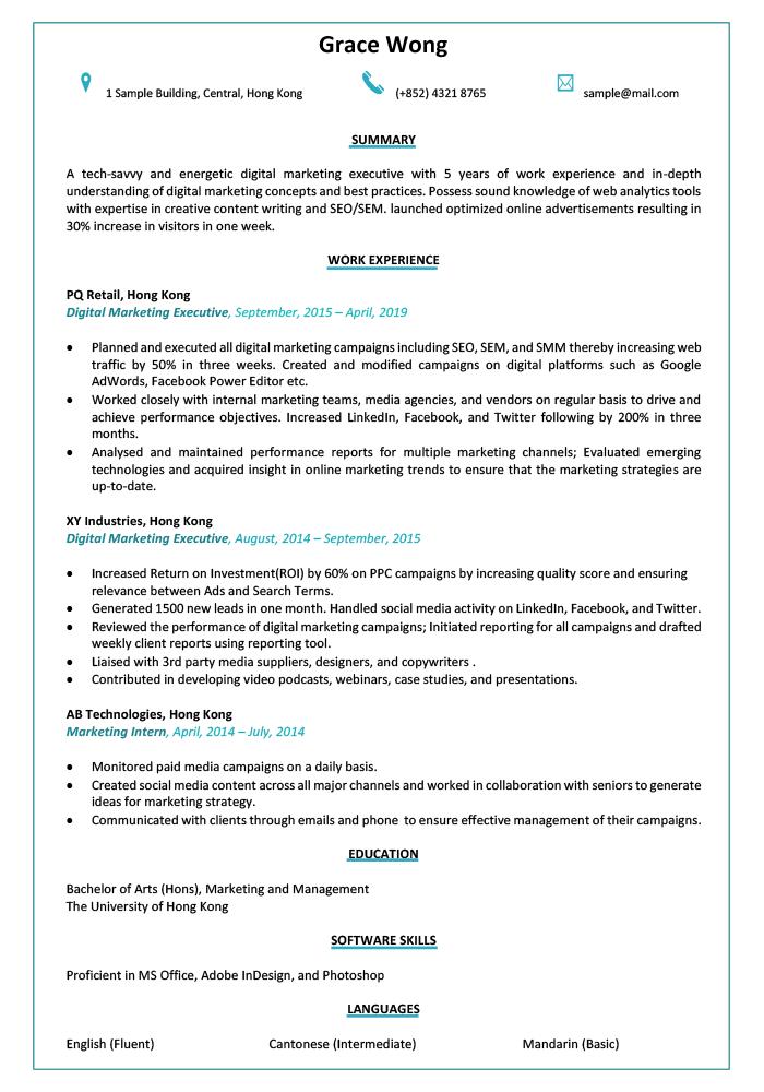 Resume & CV Sample for Digital Marketing Executive1