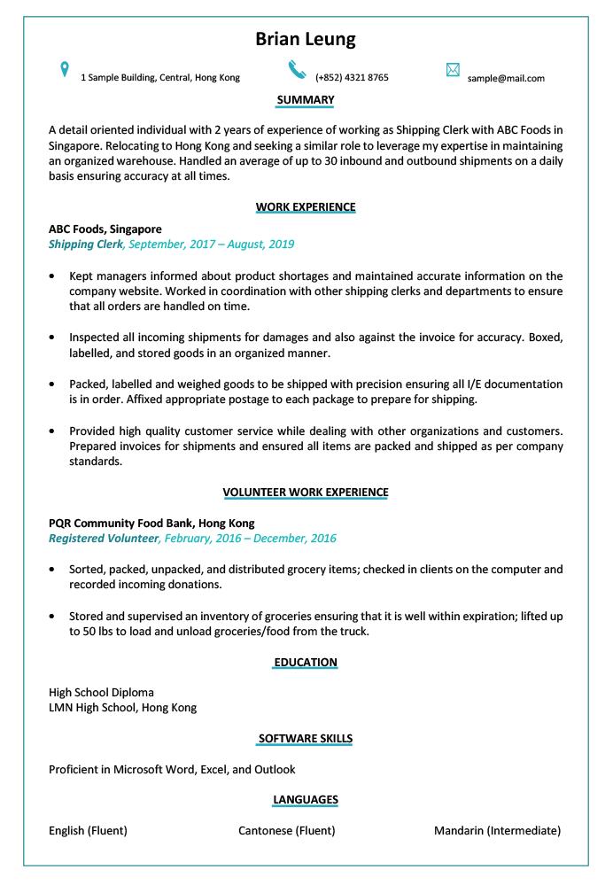 resume  u0026 cv sample for shipping clerk