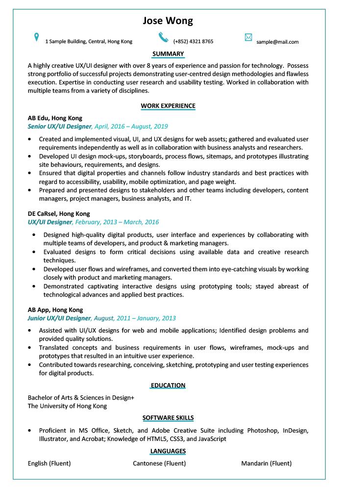 Resume Cv Sample For Ui Ux Designer Jobsdb Hong Kong