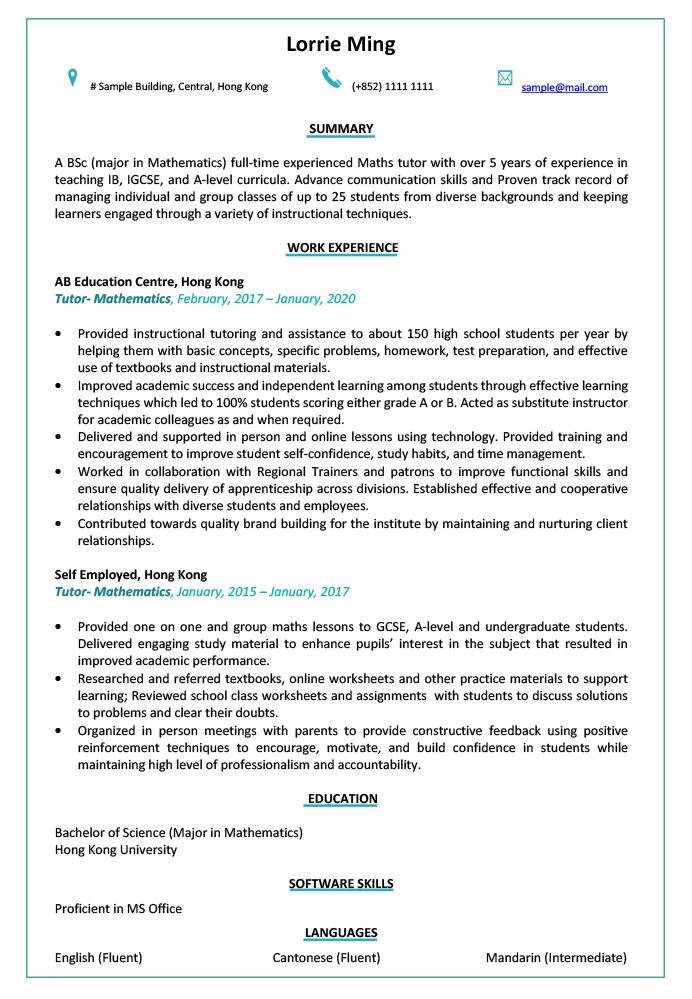 Resume Cv Sample For Tutor Instructor Jobsdb Hong Kong