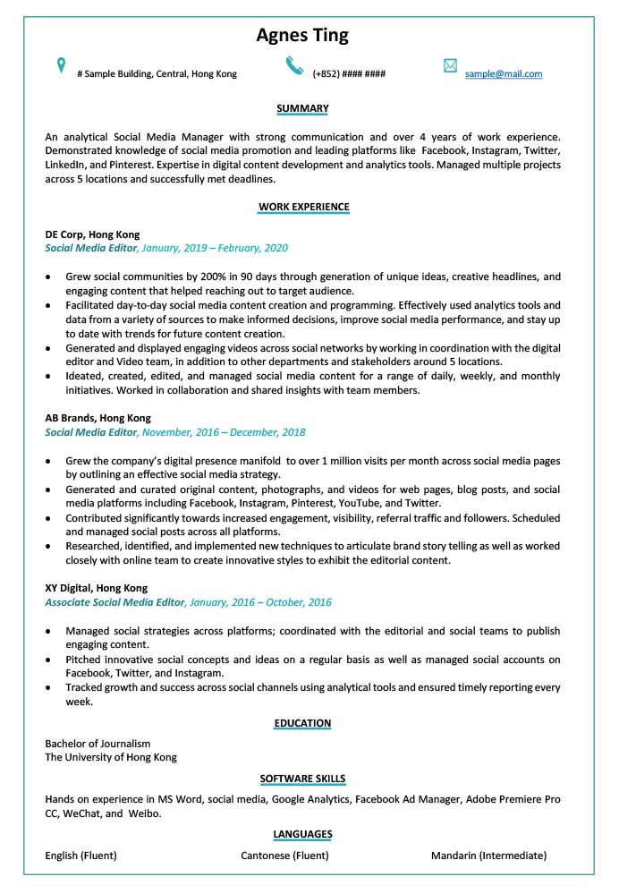 Resume Cv Sample For Social Media Editor Jobsdb Hong Kong