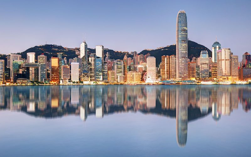 Night and Skyline of Urban Architecture in Hong Kong
