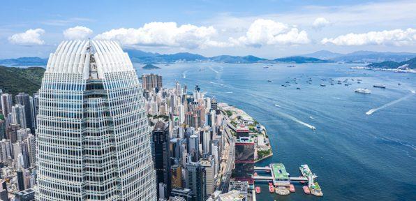Drone view of Hong Kong City, China