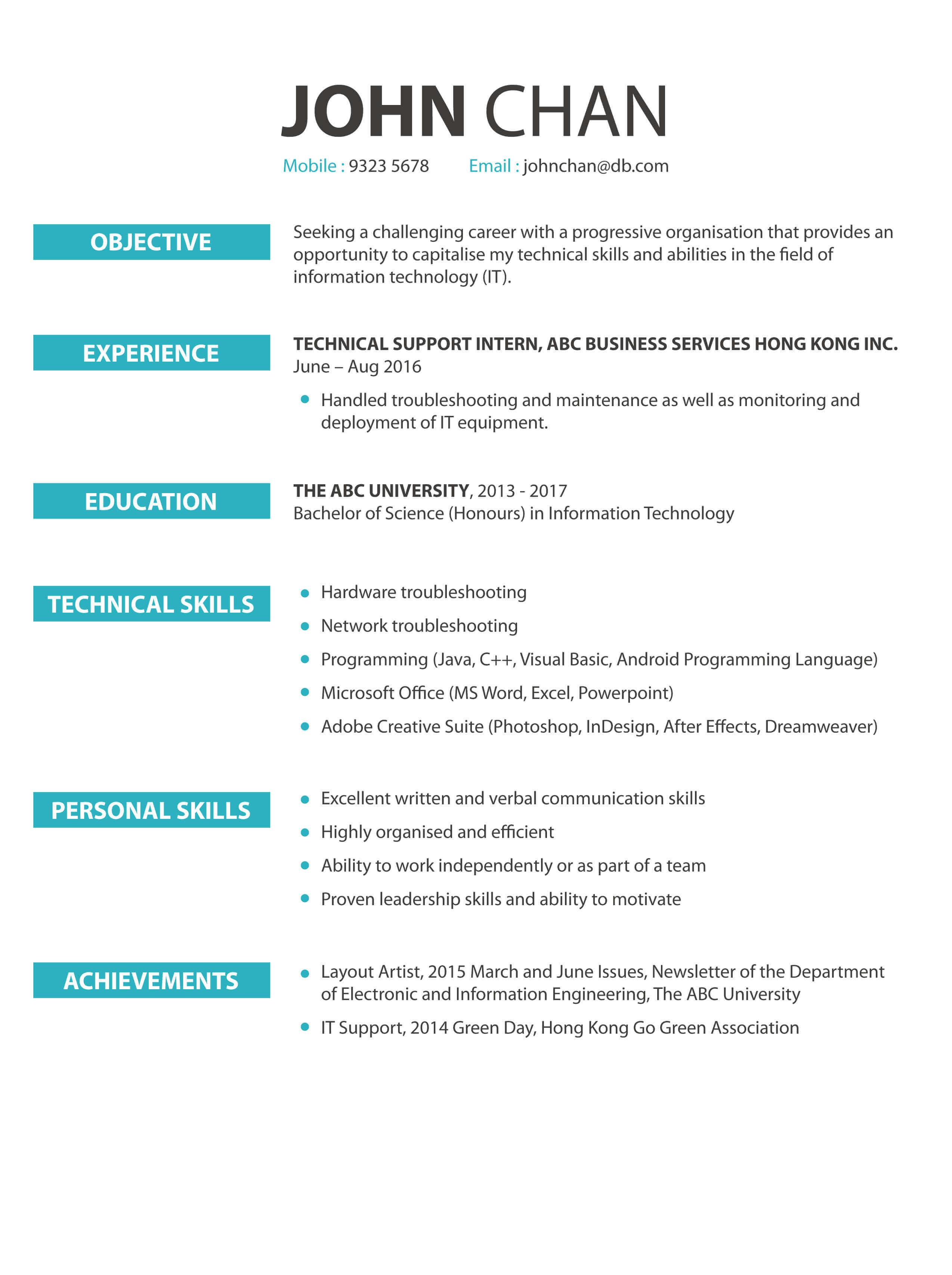 CV cover letter - Information Technology (IT)