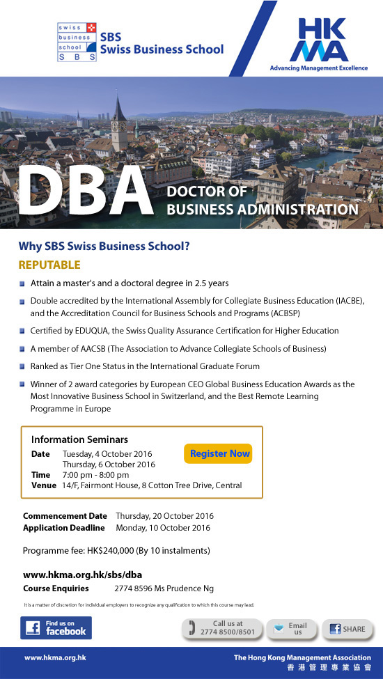 Doctor Business Administration by Swiss Business School / HKMA