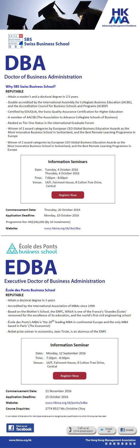 Information Seminars for DBA & EDBA